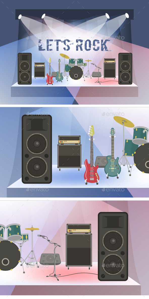 Rock Concert Equipment on Stage - Man-made Objects Objects