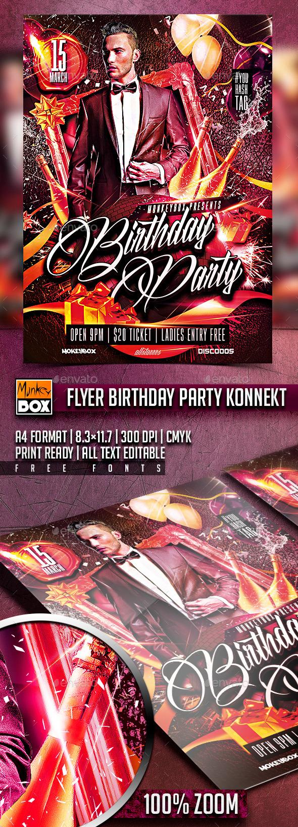 Flyer Birthday Party Konnekt - Flyers Print Templates
