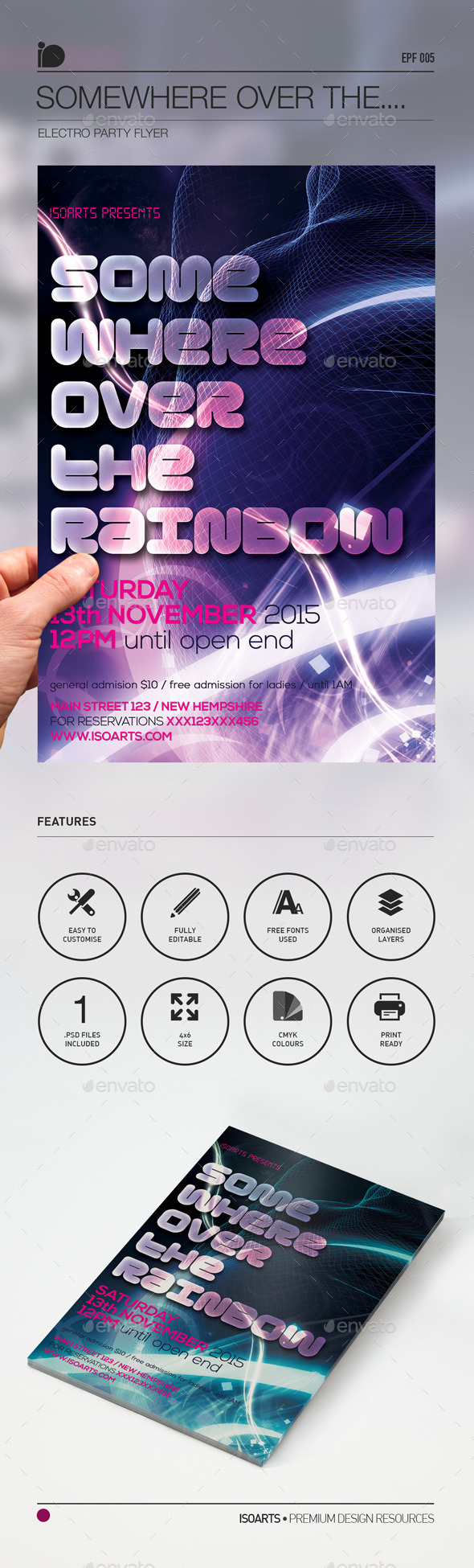 Electro Party Flyer • Somewhere Over the Rainbow - Clubs & Parties Events