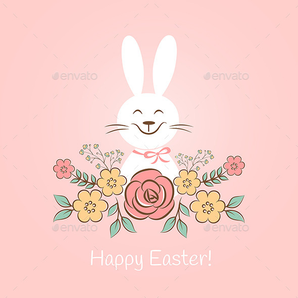 Happy Easter Bunny With Flowers - Seasons/Holidays Conceptual