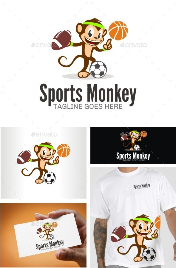 Sports Monkey - Animals Logo Templates