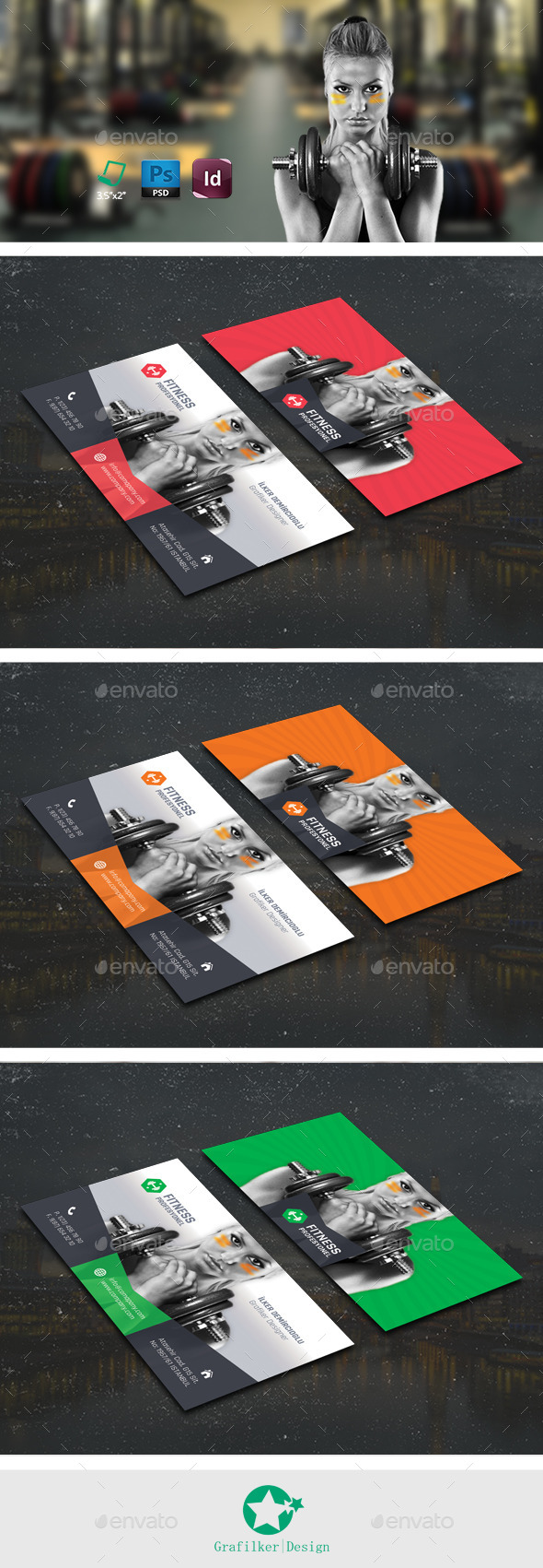 Fitness Business Card Templates By Grafilker GraphicRiver - Fitness business card template