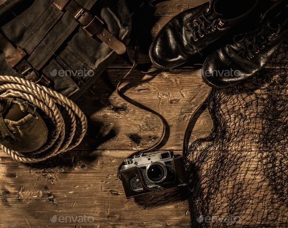Sea travellers concept in wooden interior - Stock Photo - Images