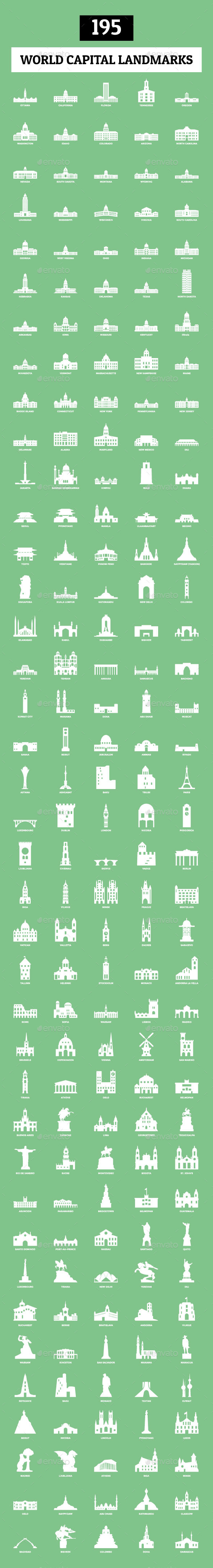 195 World Capital Landmarks - Buildings Objects