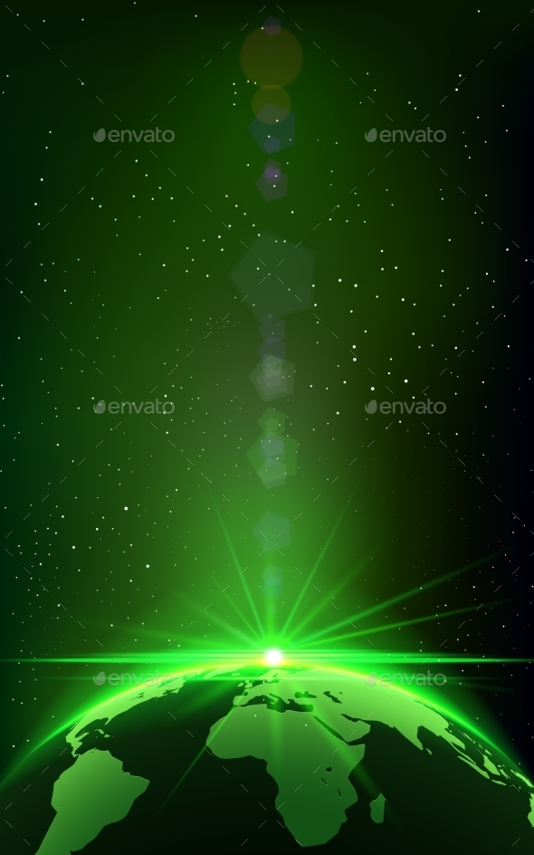 Rising Sun over the Earth Planet with Space Background - Backgrounds Decorative