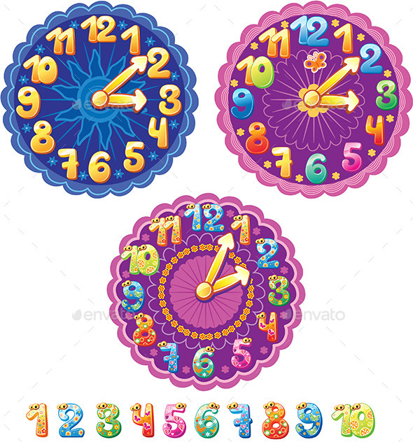 Clocks for Kids - Decorative Symbols Decorative