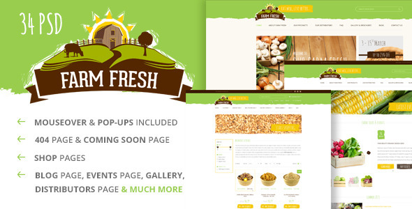 Farm Fresh – Organic Products PSD Template