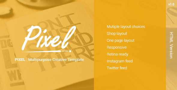 PIXEL : Multipurposes Creative Template - Creative Site Templates