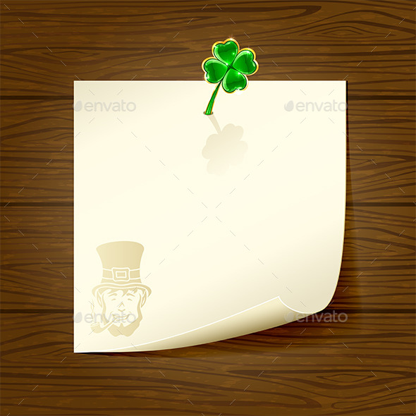 Wooden Background with Paper and Clover - Backgrounds Decorative