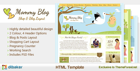 Mommy Blog HTML – Including Shop & Blog Layout