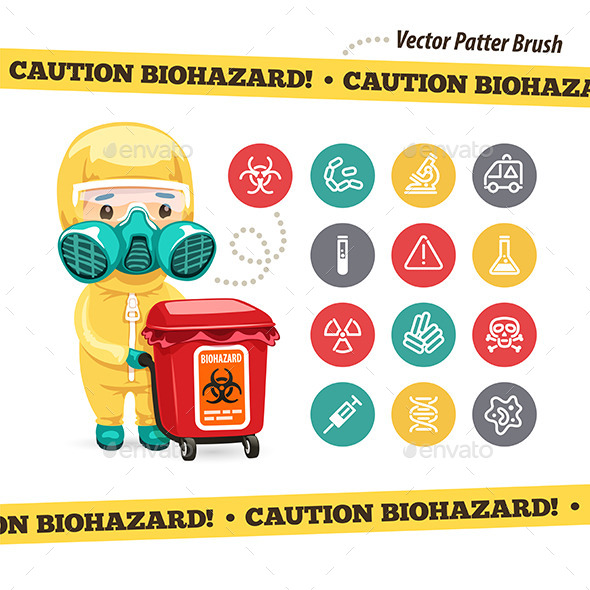 Caution Biohazard Icons and Doctor - Health/Medicine Conceptual