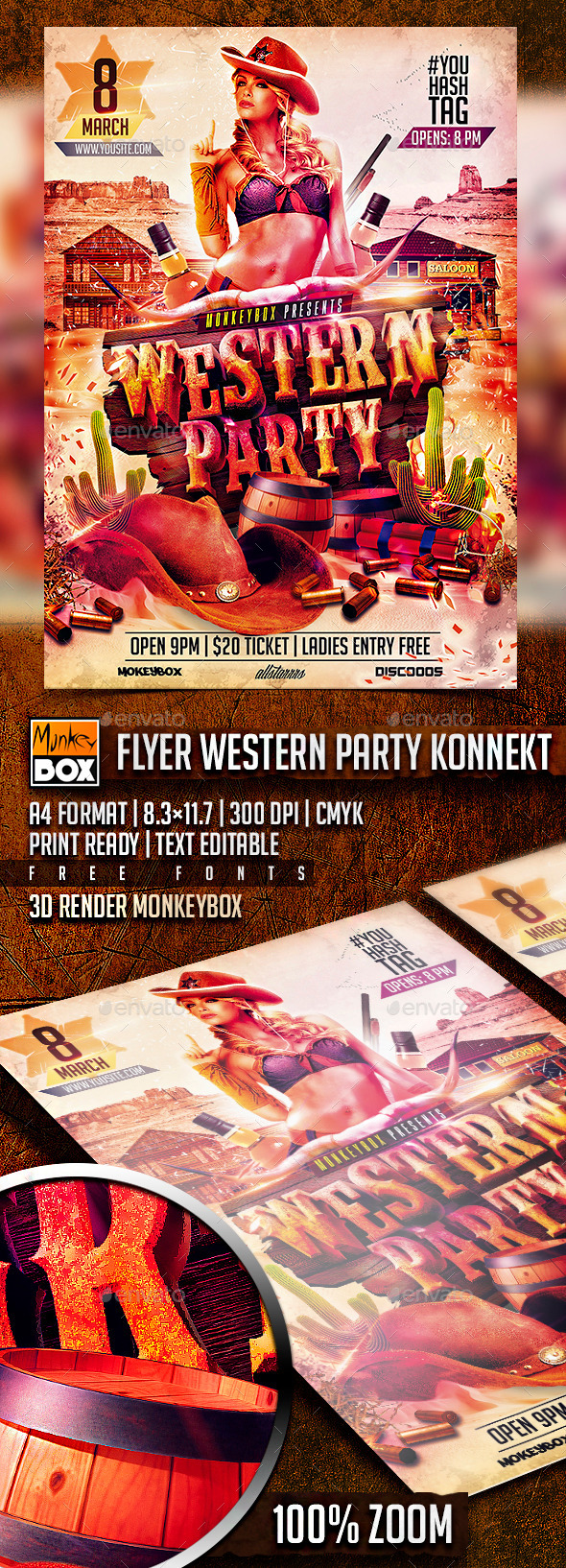 Flyer Western Party Konnekt - Flyers Print Templates