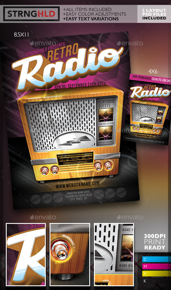 Retro Radio Event Flyer Template - Flyers Print Templates