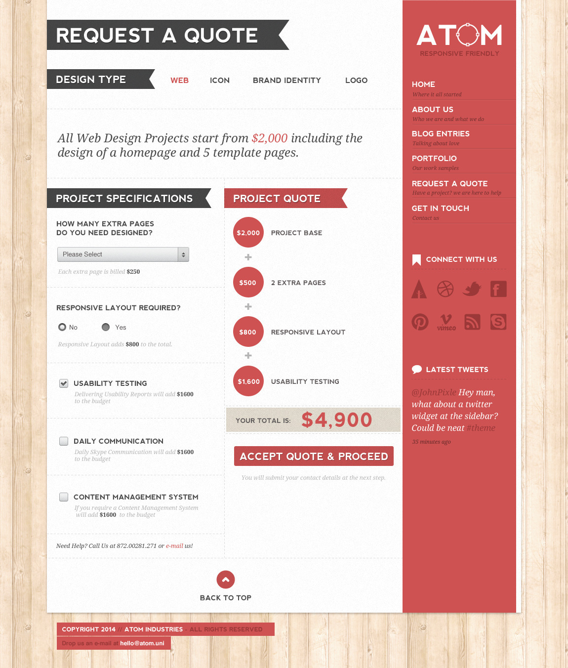 Atom A Design Studio PSD Template by wpsitenet – Web Design Quote Template