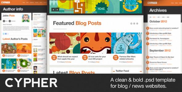 Cypher - A Bold Blog / News PSD Theme
