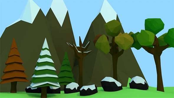 Low Poly Trees, Rocks & Mountains - 3DOcean Item for Sale