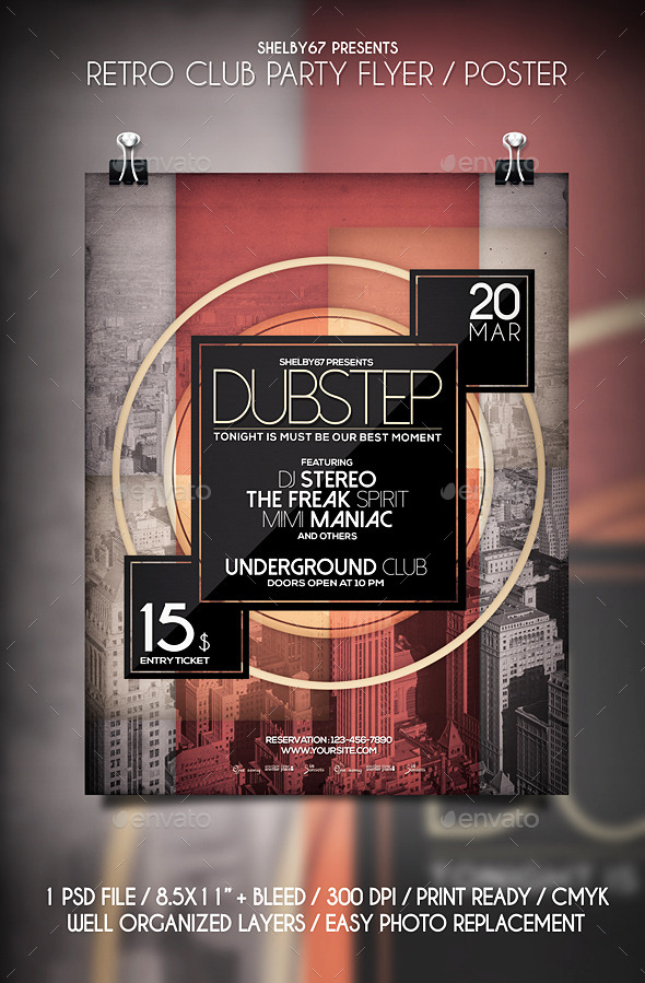 Retro Club Party Flyer / Poster - Events Flyers