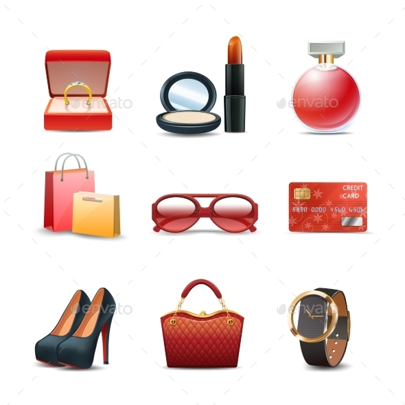Women Shopping Icon Set - Objects Vectors