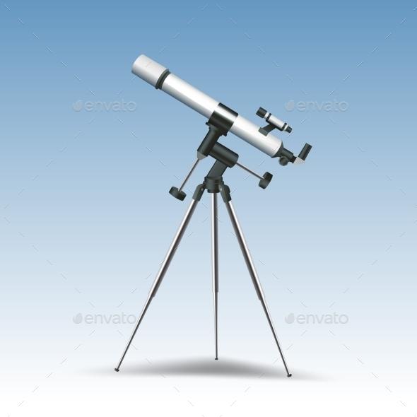 Telescope Realistic Illustration - Technology Conceptual