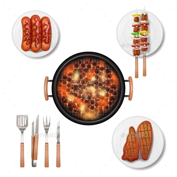 Bbq Grill Set - Food Objects