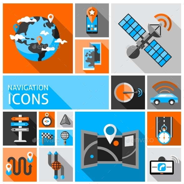 Navigation Icons Set - Technology Conceptual