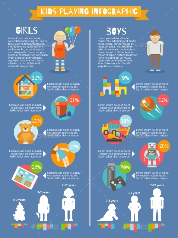 Kids Playing Infographics - People Characters