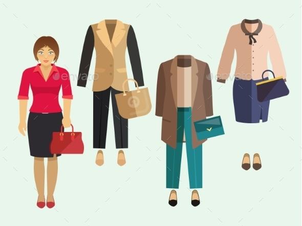 Business Woman Clothes Set - Business Conceptual