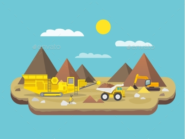Quarry Flat Illustration - Industries Business