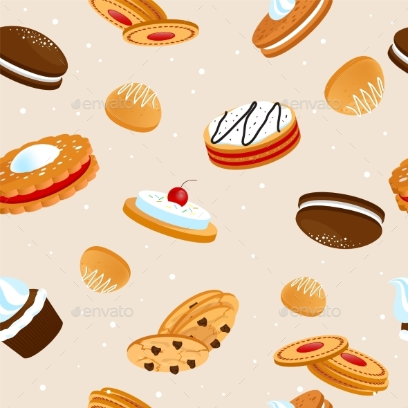 Cookies Pattern - Backgrounds Decorative
