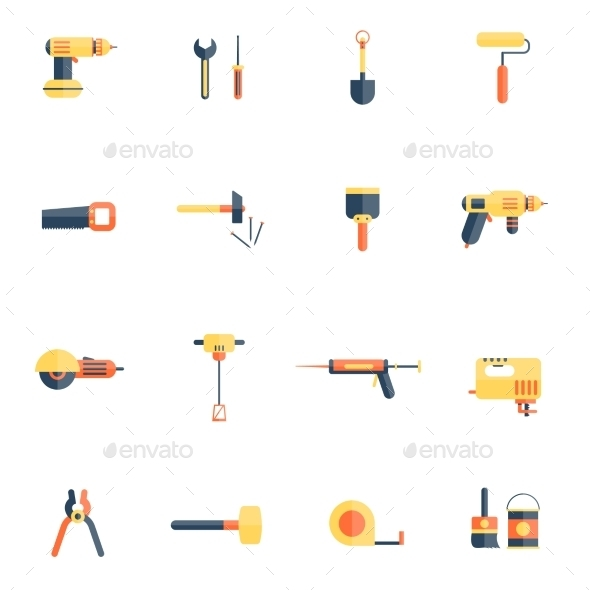 Home Repair Tools Icon Flat - Objects Vectors