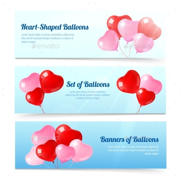 Heart Balloon Banners  - Valentines Seasons/Holidays