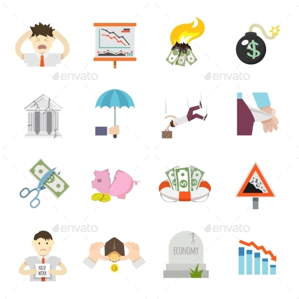Economic Crisis Flat Icons - Miscellaneous Vectors