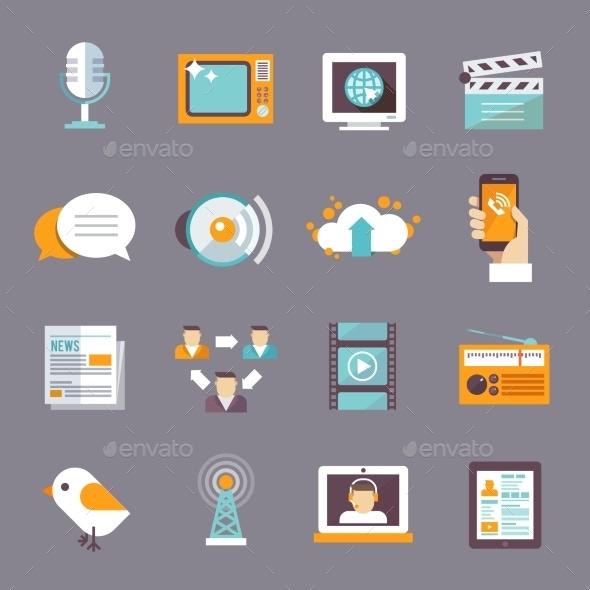 Media Icon Flat - Communications Technology