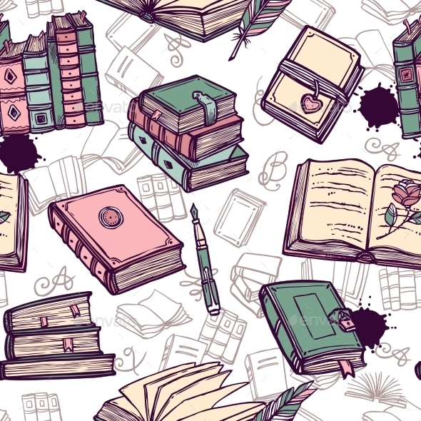Books Seamless Pattern - Backgrounds Decorative
