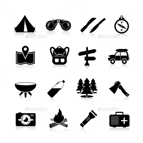 Camping Icons Black - Travel Conceptual