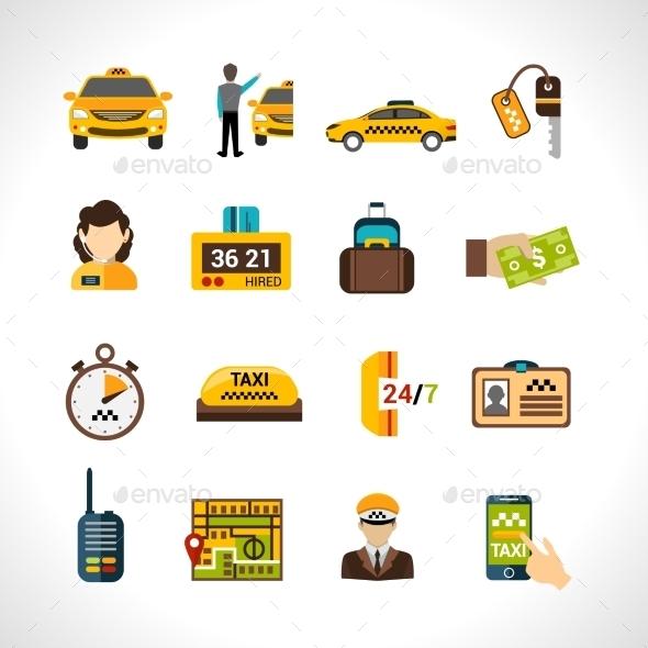 Taxi Icons Set - Travel Conceptual