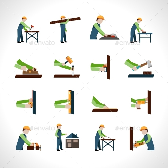 Carpenter Icons Set - Industries Business