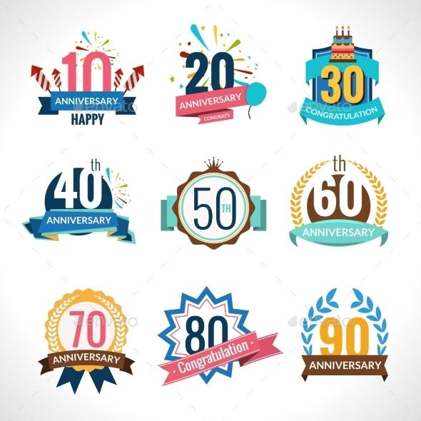 Anniversary Emblems Set - Miscellaneous Vectors