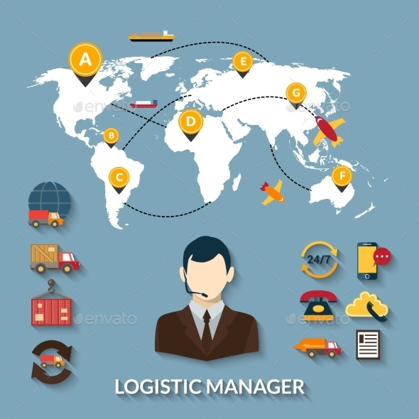 Logistic Manager Infographics - Business Conceptual