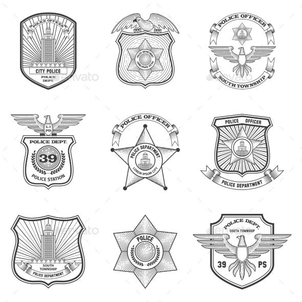 Police Emblems Set - Miscellaneous Vectors