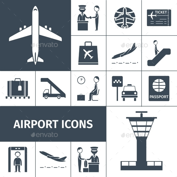 Airport Icons Black Set - Travel Conceptual