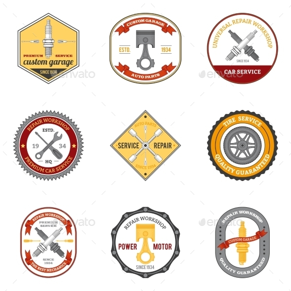 Repair Workshop Emblems Colored - Technology Conceptual