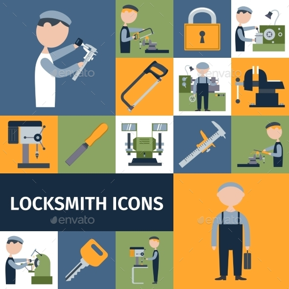 Locksmith Icons Set - Miscellaneous Vectors