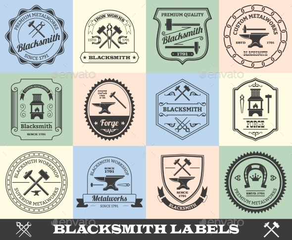 Blacksmith Label Set - Industries Business