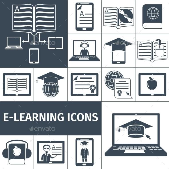 E-learning Icon Black Set - Communications Technology