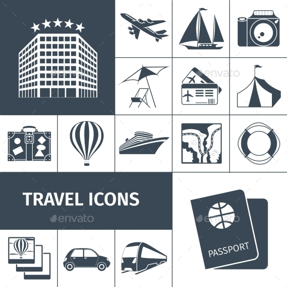 Travel Icons Black Set - Travel Conceptual