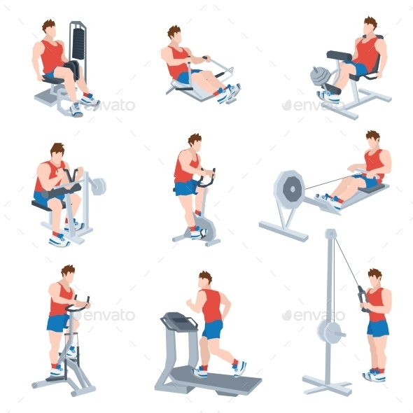 Exercise Machines Set - Sports/Activity Conceptual