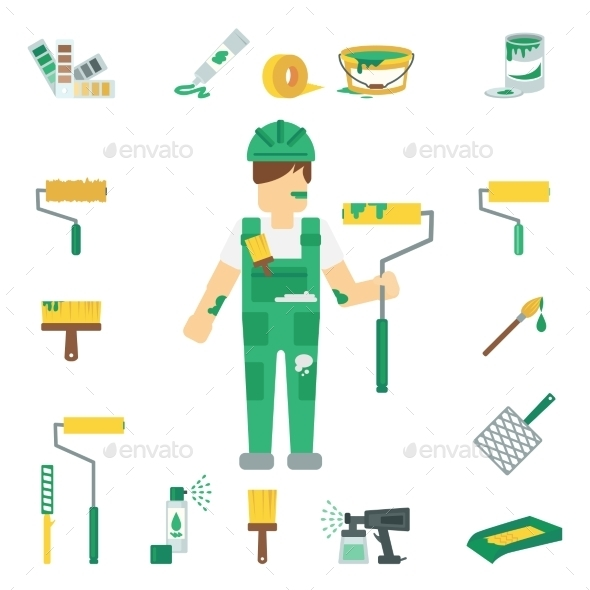 House Painter Flat Set - People Characters