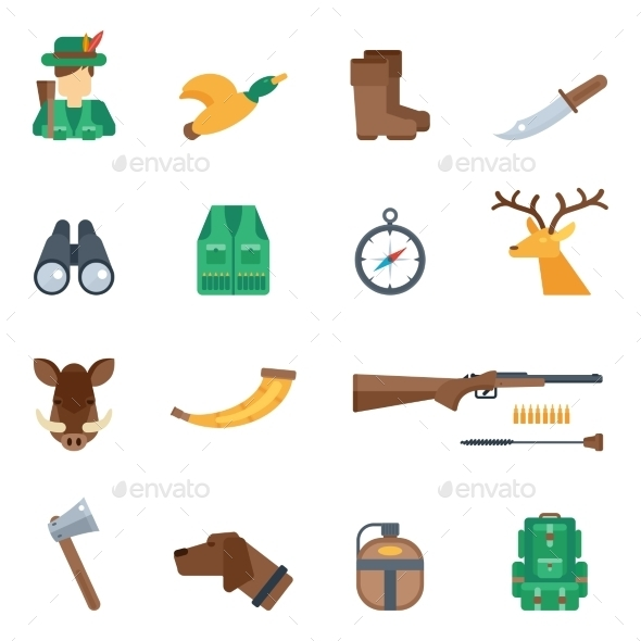 Hunting Icons Set - Nature Conceptual