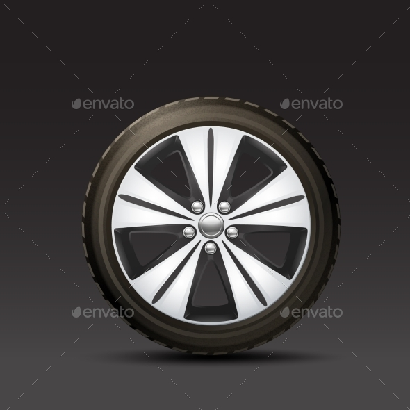 Car Wheel Black Background - Objects Vectors